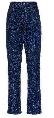 Ashish tinsel sequin embellished straight leg jeans