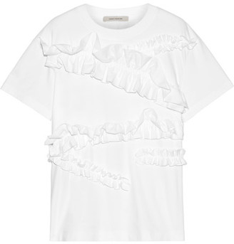 Cédric Charlier Ruffle-trimmed Cotton-jersey T-shirt - White