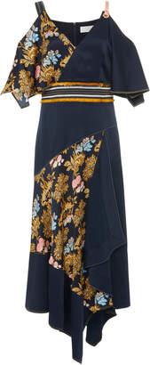 Peter Pilotto Asymmetric Cold-Shoulder Printed Silk Dress
