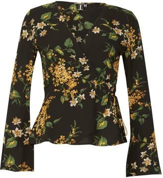 Izabel London Floral Print Wrap Blouse Top