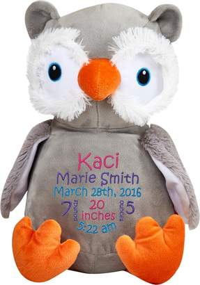 Monogrammed Me Personalized Stuffed Grey and Orange Owl with Embroidered Baby Block in Hot Pink, Purple, and Teal