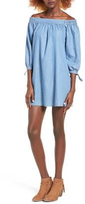 Women's Speechless Off The Shoulder Denim Shift Dress $48 thestylecure.com