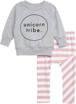 TINY TRIBE Unicorn Sweatshirt & Leggings Set