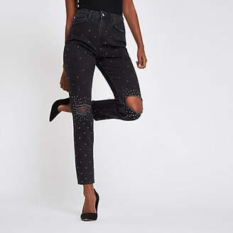 River Island Black Casey embellished ripped slim fit jeans