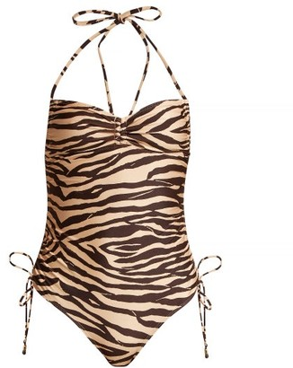 Zimmermann Juniper Tiger Print Ruched Swimsuit - Womens - Brown Multi