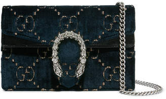 Gucci Dionysus Super Mini Patent Leather-trimmed Embossed Velvet Shoulder Bag - Navy