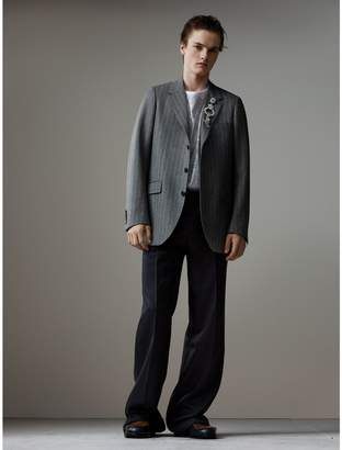 Burberry English Pinstripe Wool Flannel Tailored Jacket