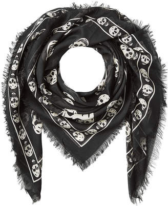 Alexander McQueen Skull Printed Scarf with Silk