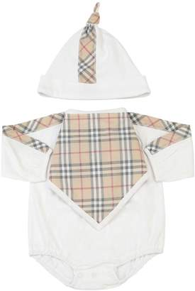 Burberry Check Print Cotton Bodysuit, Bib & Hat
