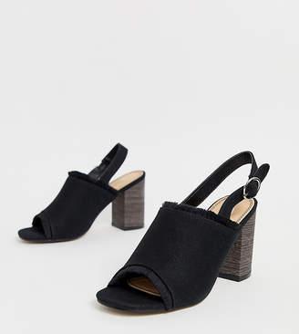 Park Lane wide fit canvas sling back block heels