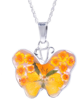 FINE JEWELRY Everlasting Flower Womens Sterling Silver Butterfly Pendant Necklace