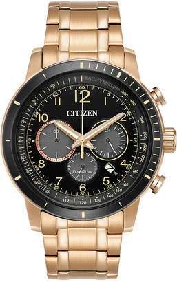 Citizen Men's Eco-Drive Chronograph Rose Gold-Tone Stainless Steel Bracelet Watch 44mm CA4359-55E