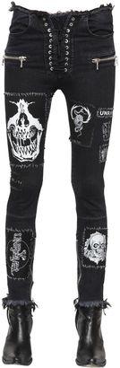 Laced Patch Stretch Cotton Denim Jeans $1,201 thestylecure.com