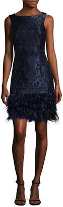 David Meister Feather Hem Brocade Shift Dress