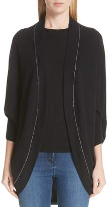 St. John Cashmere Jersey Knit Cocoon Cardigan