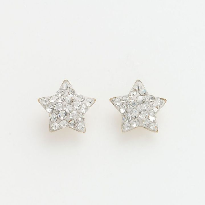 14k Gold Crystal Star Earrings