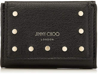 Jimmy Choo NAIMA Black Leather Small French Wallet with Round Studs