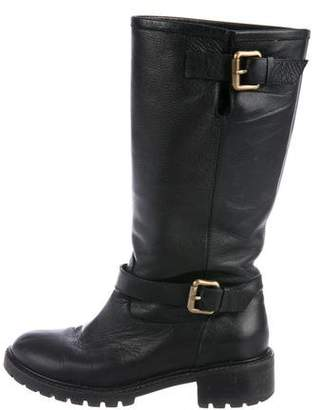 Fendi Leather Round-Toe Ankle Boots