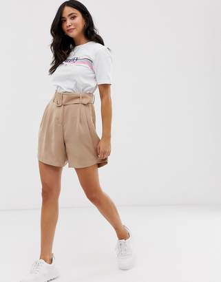 Pieces belted soft tailored shorts