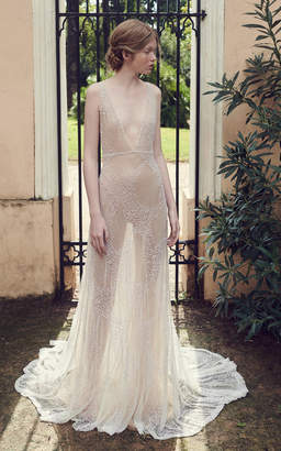 Costarellos Bridal Beaded Tulle Plunging V-neck Gown