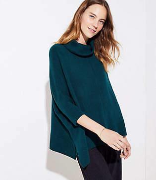 LOFT Petite Turtleneck Poncho Sweater