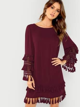 Shein Lace Cuff Tassel Embellished Tunic Dress