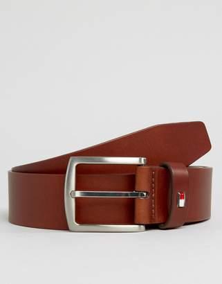 Tommy Hilfiger Denton Flag Logo Leather Belt In Tan