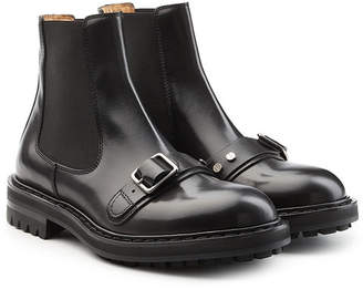 Alexander McQueen Leather Ankle Boots with Buckles