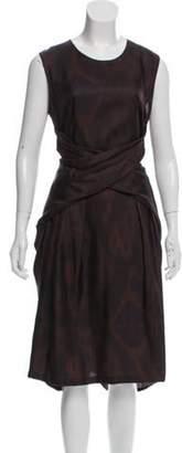 Dries Van Noten Abstract Print Silk Dress Brown Abstract Print Silk Dress