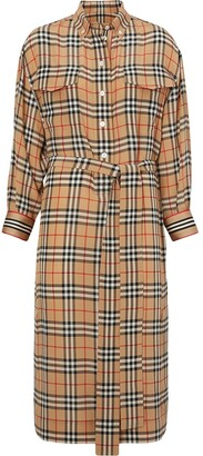 Burberry Vintage Check Silk Tie-Waist Shirt Dress