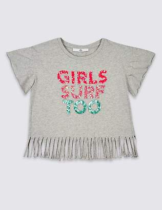 Marks and Spencer Pure Cotton Sequin Top (3-16 Years)