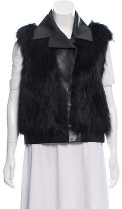 Derek Lam Leather Fox-Trimmed Vest w/ Tags