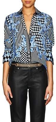 Versace Women's Harlequin-Print Silk Twill Blouse