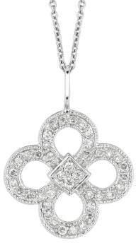 Morris & David 14K White Gold Diamond Clover Pendant - 0.37 TCW