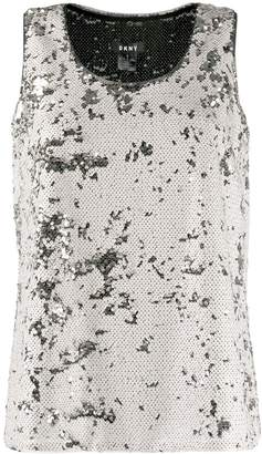 DKNY sequin sleeveless metallic top