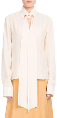 Chloé Long-Sleeve Open-Neck Silk Crepe de Chine Blouse w/ Ring Scarf