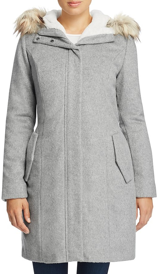 Cole Haan  Cole Haan Striccato Wool Faux Fur Trim Coat