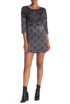 Papillon 3\u002F4 Sleeve Printed Sweater Dress