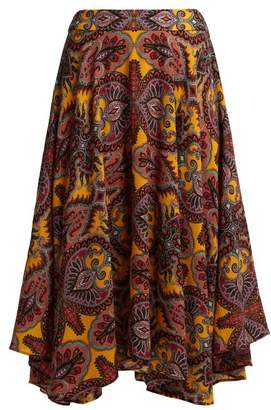 Etro Gypsum Paisley Print Wool Blend Skirt - Womens - Yellow Multi