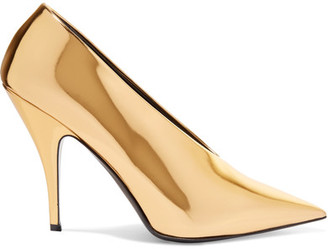 Stella McCartney - Faux Mirrored-leather Pumps - Gold $725 thestylecure.com