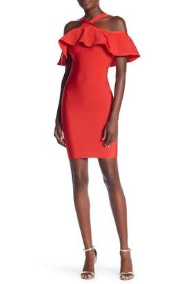 Wow Couture Ruffle Popover Bandage Dress
