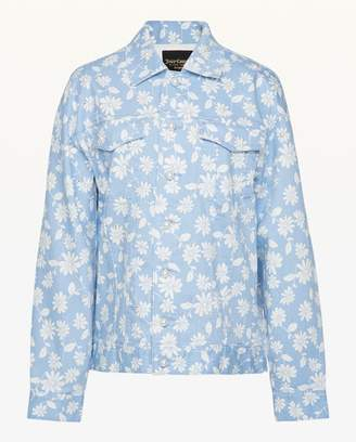 Juicy Couture Faux Pearl Embellished Sketched Daisies Denim Jacket