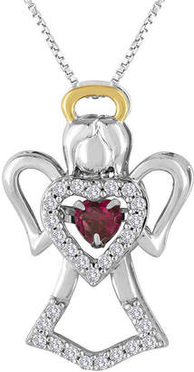 FINE JEWELRY Love in Motion Lab-Created Ruby and Lab-Created White Sapphire Angel Pendant Necklace