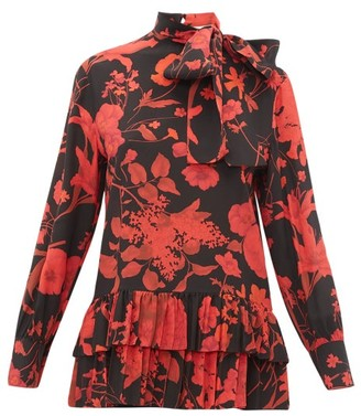 Valentino High Neck Floral Print Silk Blouse - Womens - Black Red