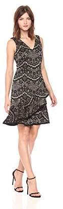 Tommy Hilfiger Women's Metallic Floral Knit V Neck Dress Layered Flounce Hem