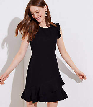 LOFT Tall Wraparound Flounce Flare Dress