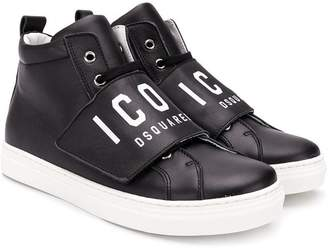 DSQUARED2 TEEN Icon touch-strap hi-top sneakers