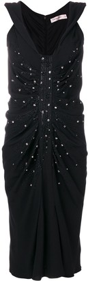 Christian Dior Pre-Owned embellished ruched dress