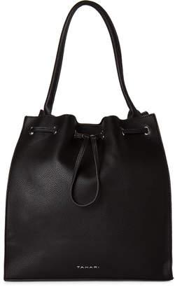 Tahari Black Loopy Drawstring Shoulder Bag