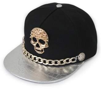 Ambiel Hip-hop Adjustable Hat Metal Skull Studded Baseball Snapback Cap with Chain